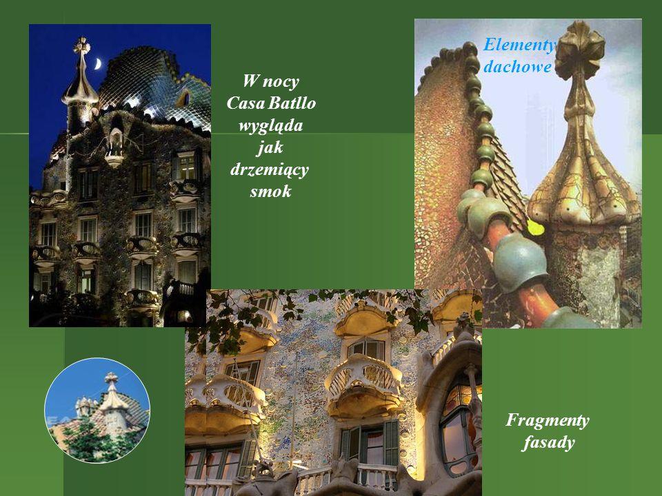 Elementy dachowe W nocy Casa Batllo wygląda jak drzemiący smok Fragmenty fasady