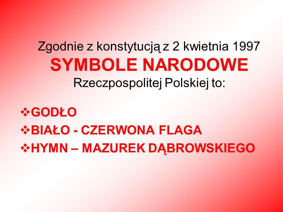 Zgodnie z konstytucją z 2 kwietnia 1997 SYMBOLE NARODOWE Rzeczpospolitej Polskiej to: