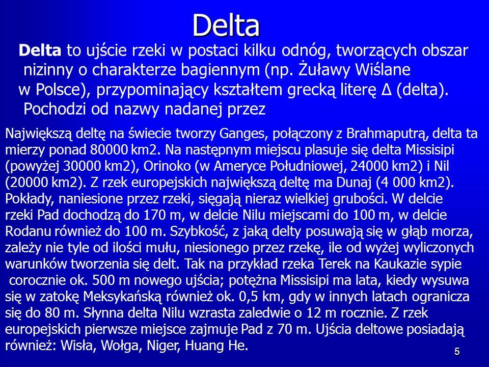Delta Delta to ujście rzeki w postaci kilku odnóg, tworzących obszar