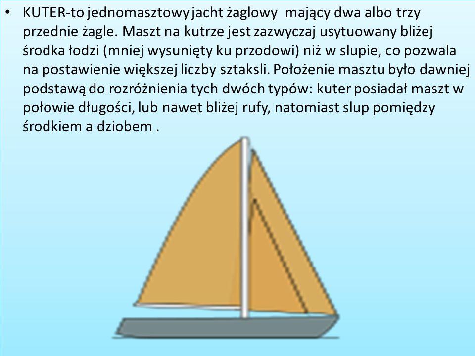 KUTER-to jednomasztowy jacht żaglowy mający dwa albo trzy przednie żagle. Maszt na kutrze jest zazwyczaj usytuowany bliżej środka łodzi (mniej wysunięty ku przodowi) niż w slupie, co pozwala na postawienie większej liczby sztaksli.