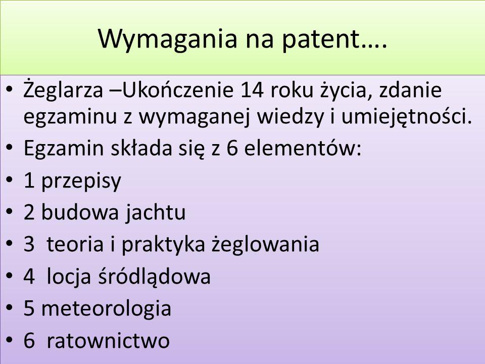 Wymagania na patent…. Żeglarza –Ukończenie 14 roku życia, zdanie egzaminu z wymaganej wiedzy i umiejętności.
