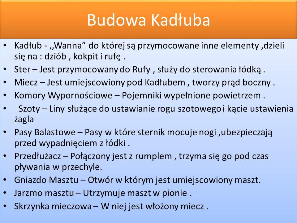 Budowa Kadłuba Kadłub - ,,Wanna do której są przymocowane inne elementy ,dzieli się na : dziób , kokpit i rufę .