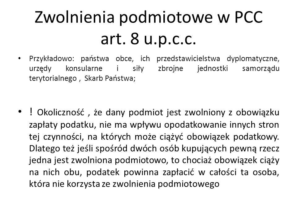 Zwolnienia podmiotowe w PCC art. 8 u.p.c.c.