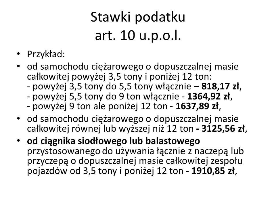 Stawki podatku art. 10 u.p.o.l.