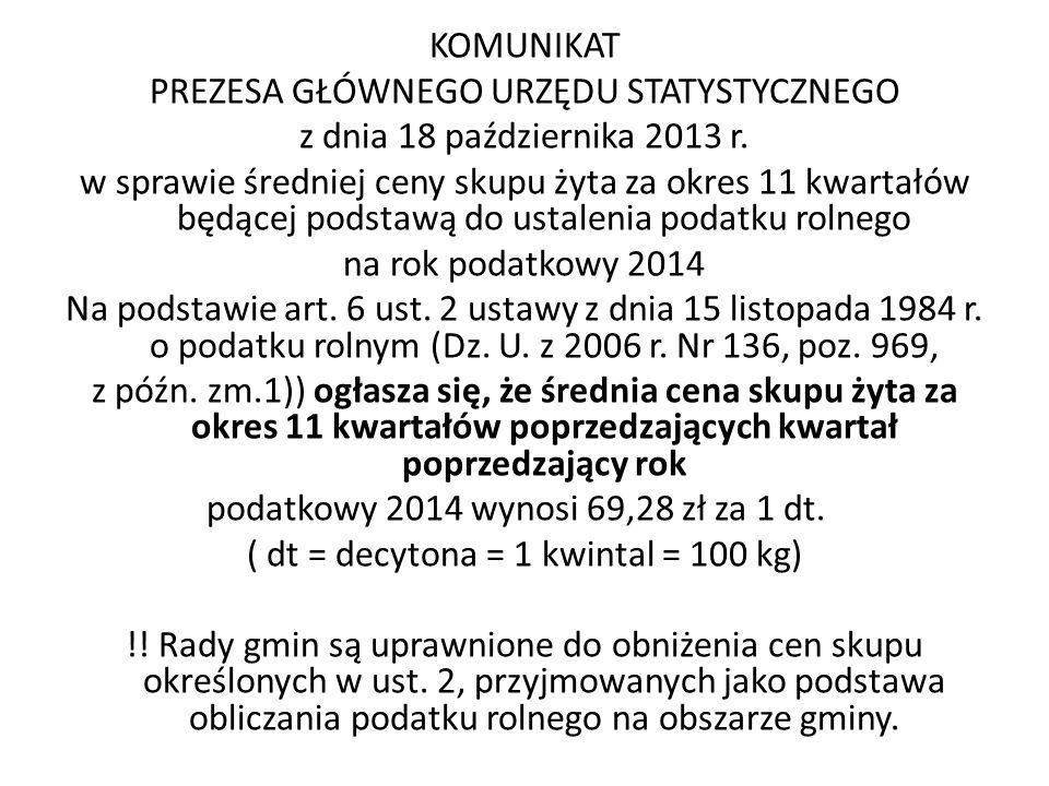 PREZESA GŁÓWNEGO URZĘDU STATYSTYCZNEGO z dnia 18 października 2013 r.