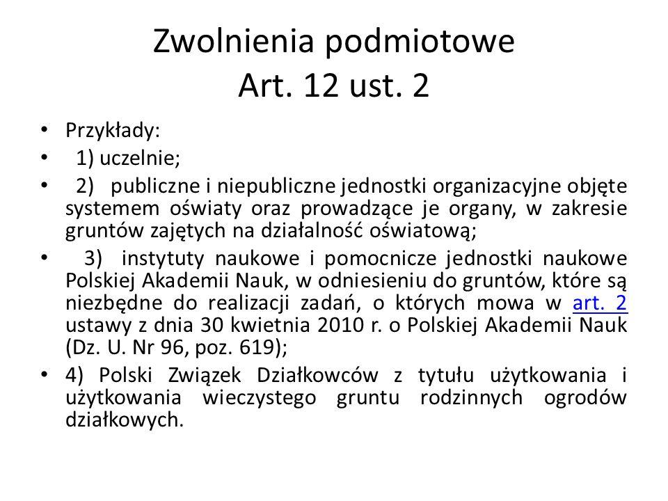 Zwolnienia podmiotowe Art. 12 ust. 2