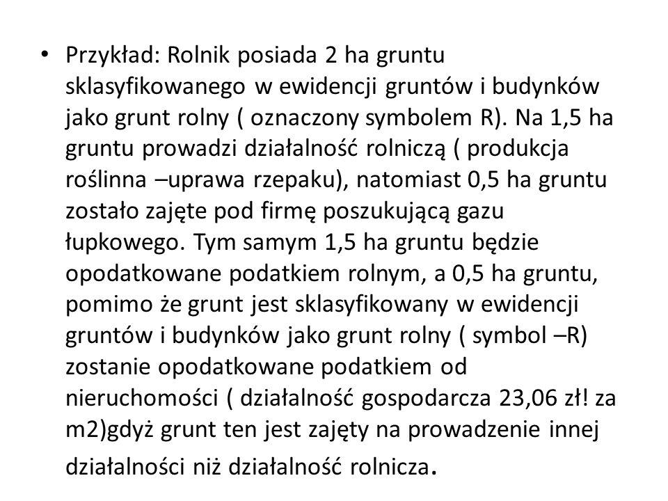 Przykład: Rolnik posiada 2 ha gruntu sklasyfikowanego w ewidencji gruntów i budynków jako grunt rolny ( oznaczony symbolem R).