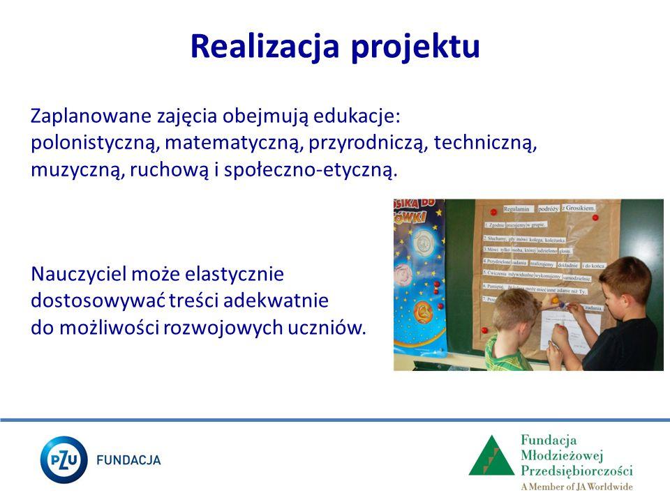 Realizacja projektu Zaplanowane zajęcia obejmują edukacje: