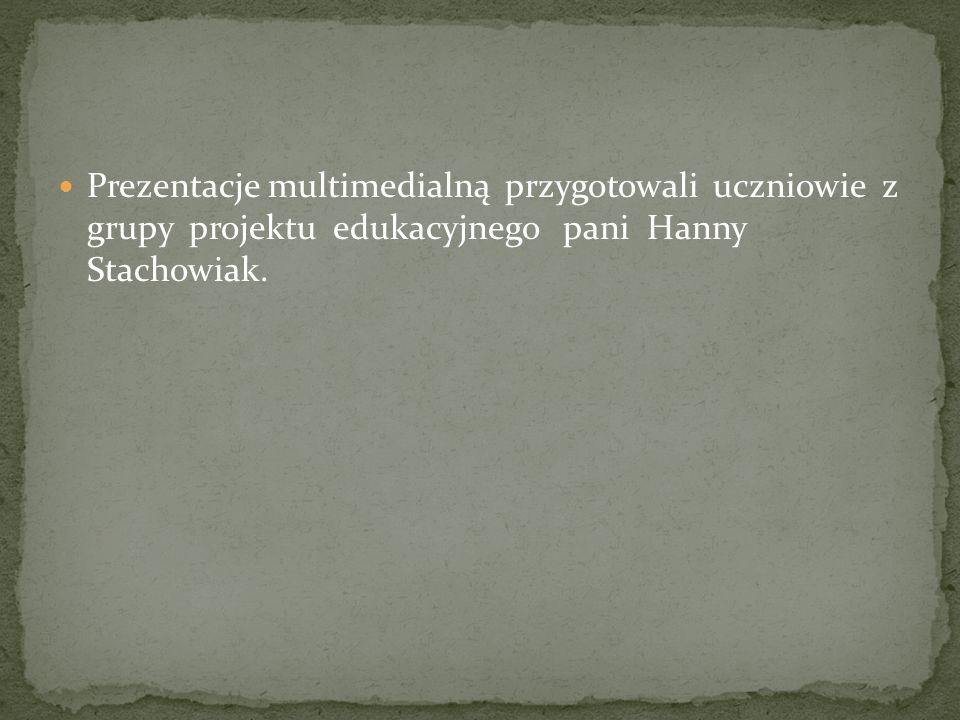 Prezentacje multimedialną przygotowali uczniowie z grupy projektu edukacyjnego pani Hanny Stachowiak.