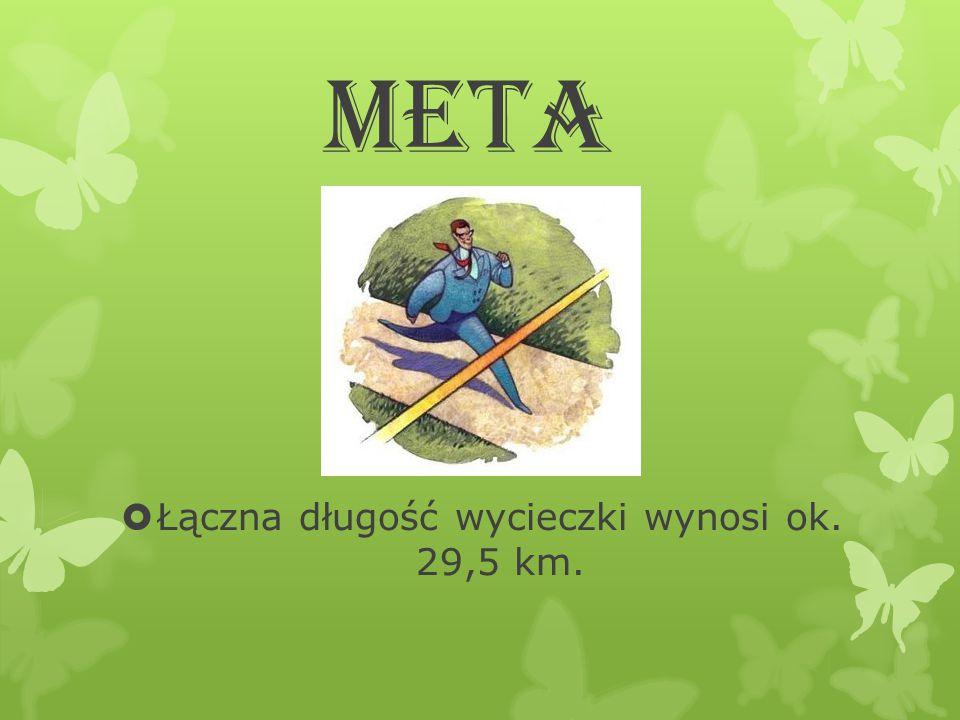 Łączna długość wycieczki wynosi ok. 29,5 km.
