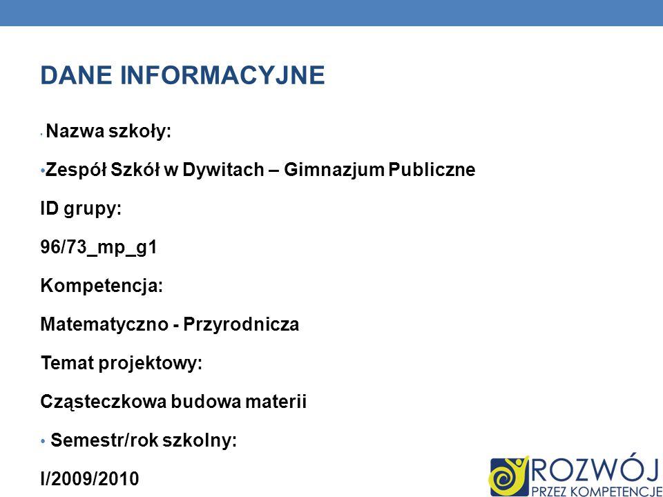 DANE INFORMACYJNE Zespół Szkół w Dywitach – Gimnazjum Publiczne