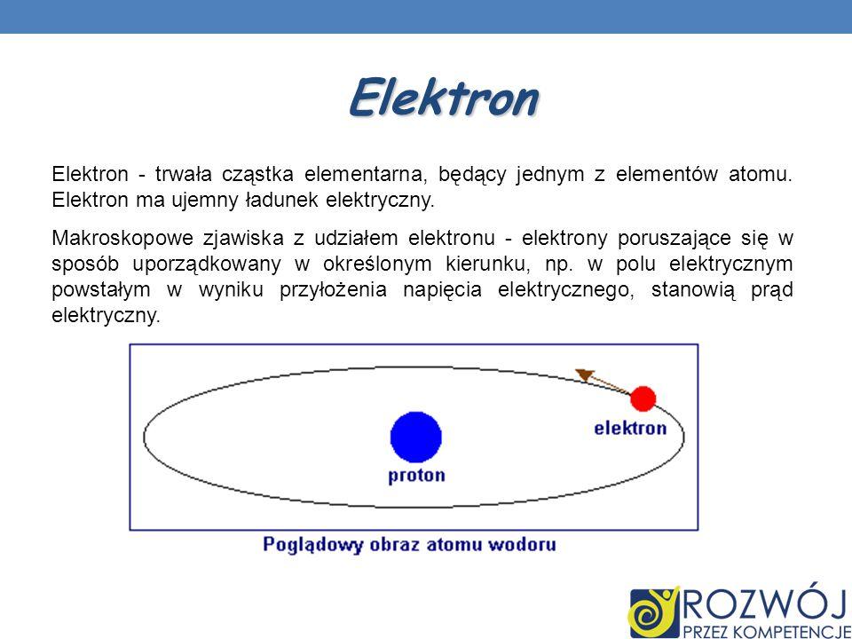 Elektron Elektron - trwała cząstka elementarna, będący jednym z elementów atomu. Elektron ma ujemny ładunek elektryczny.