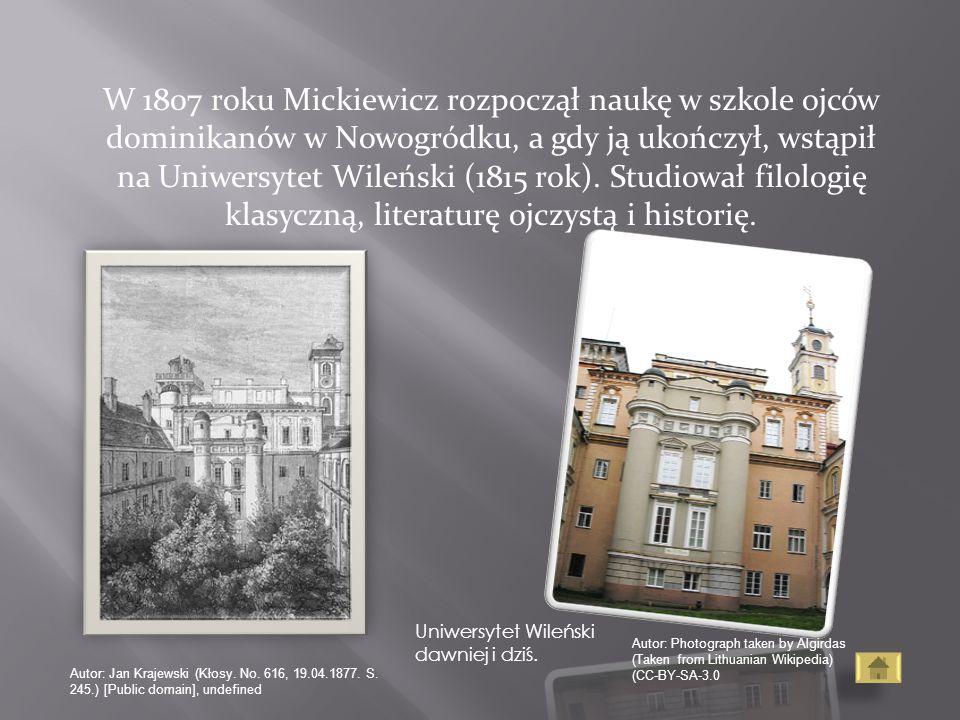 W 1807 roku Mickiewicz rozpoczął naukę w szkole ojców dominikanów w Nowogródku, a gdy ją ukończył, wstąpił na Uniwersytet Wileński (1815 rok). Studiował filologię klasyczną, literaturę ojczystą i historię.