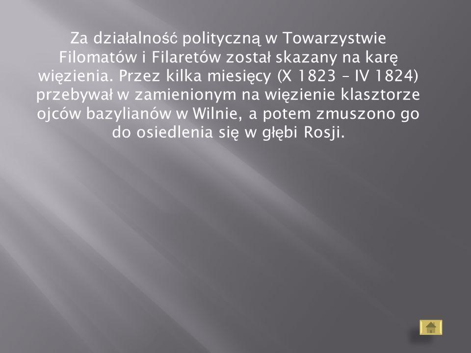 Za działalność polityczną w Towarzystwie Filomatów i Filaretów został skazany na karę więzienia.