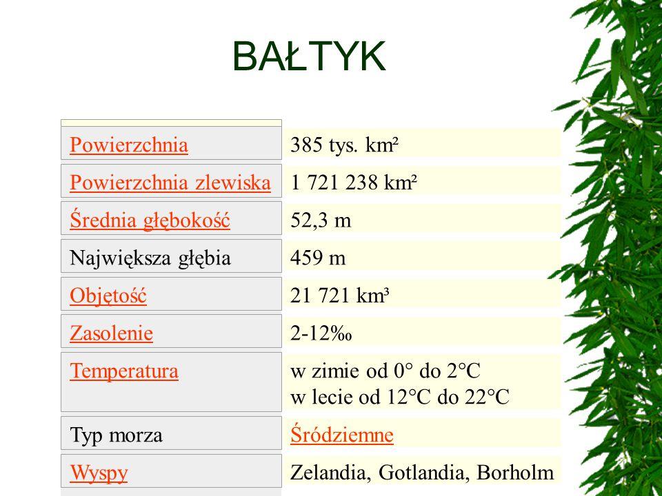 BAŁTYK 385 tys. km² 1 721 238 km² 52,3 m 459 m 21 721 km³ 2-12‰