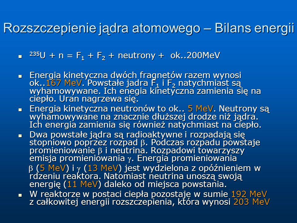 Rozszczepienie jądra atomowego – Bilans energii