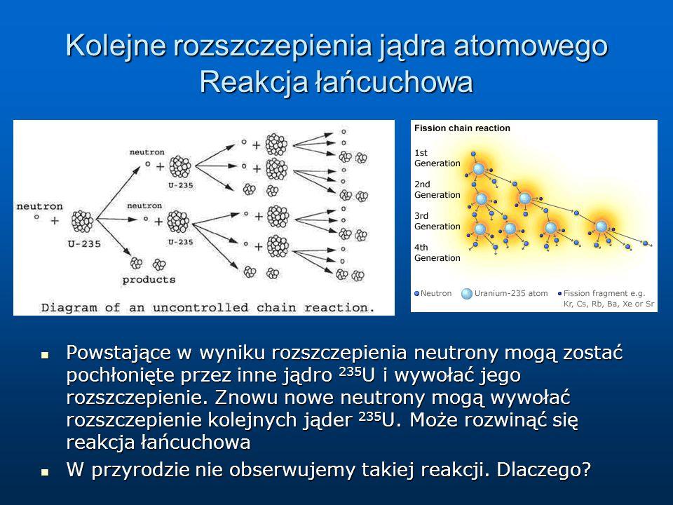 Kolejne rozszczepienia jądra atomowego Reakcja łańcuchowa