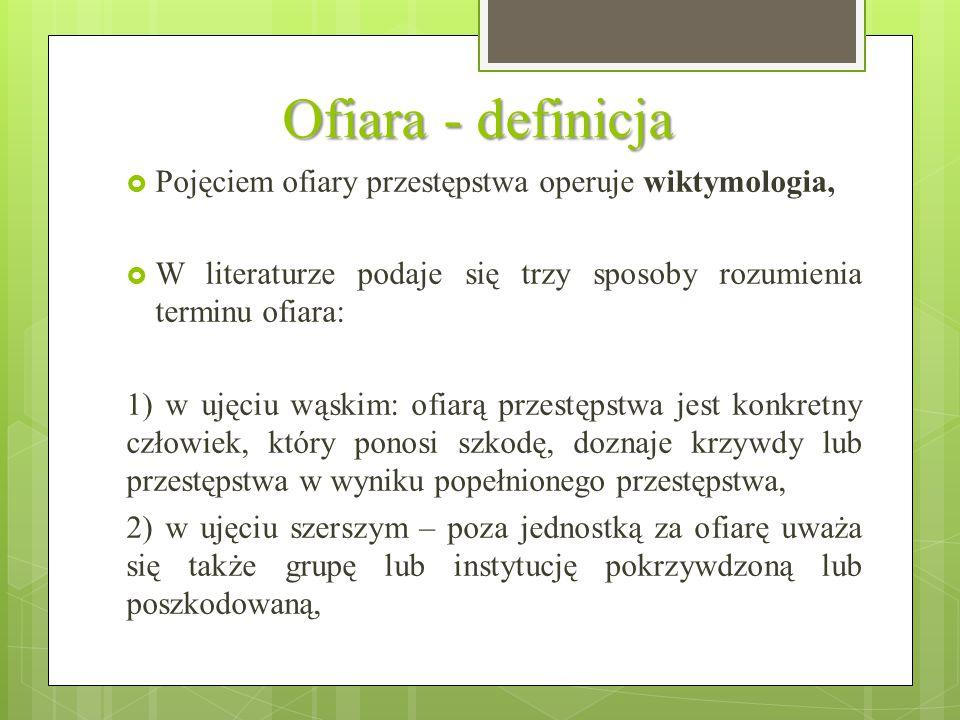 Ofiara - definicja Pojęciem ofiary przestępstwa operuje wiktymologia,
