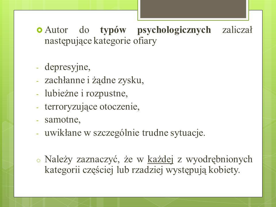 Autor do typów psychologicznych zaliczał następujące kategorie ofiary