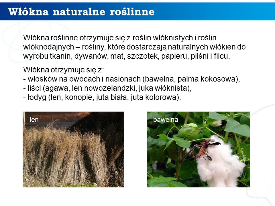 Włókna naturalne roślinne
