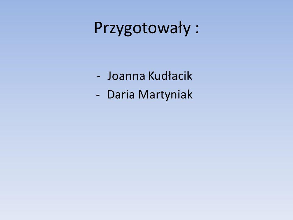 Przygotowały : Joanna Kudłacik Daria Martyniak