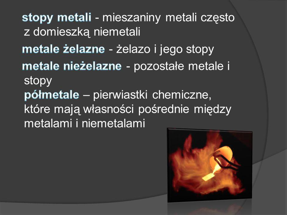 stopy metali - mieszaniny metali często z domieszką niemetali metale żelazne - żelazo i jego stopy metale nieżelazne - pozostałe metale i stopy półmetale – pierwiastki chemiczne, które mają własności pośrednie między metalami i niemetalami