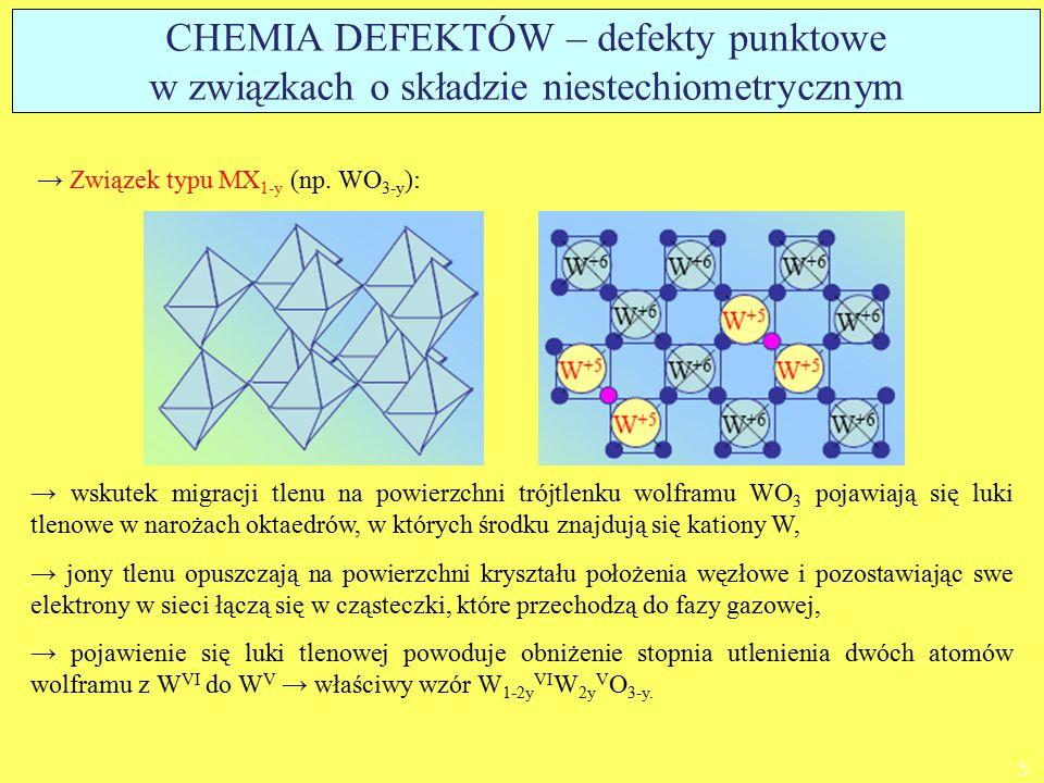 CHEMIA DEFEKTÓW – defekty punktowe w związkach o składzie niestechiometrycznym