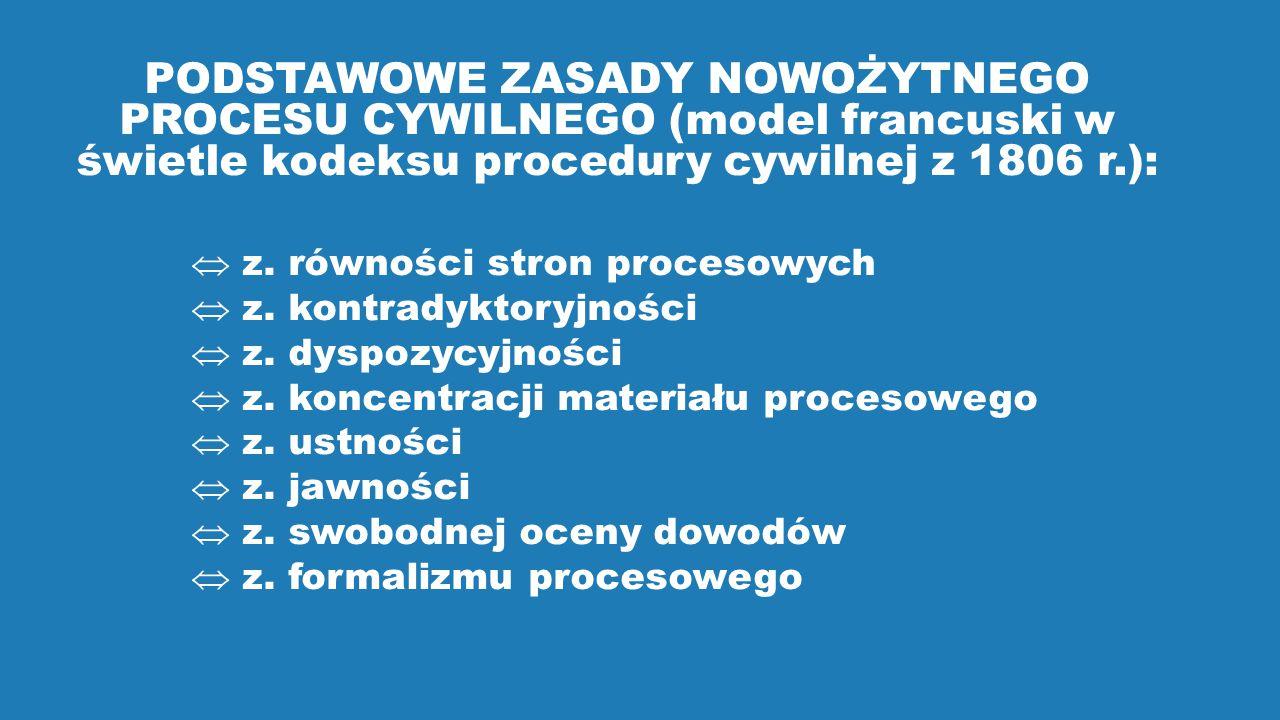PODSTAWOWE ZASADY NOWOŻYTNEGO PROCESU CYWILNEGO (model francuski w świetle kodeksu procedury cywilnej z 1806 r.):