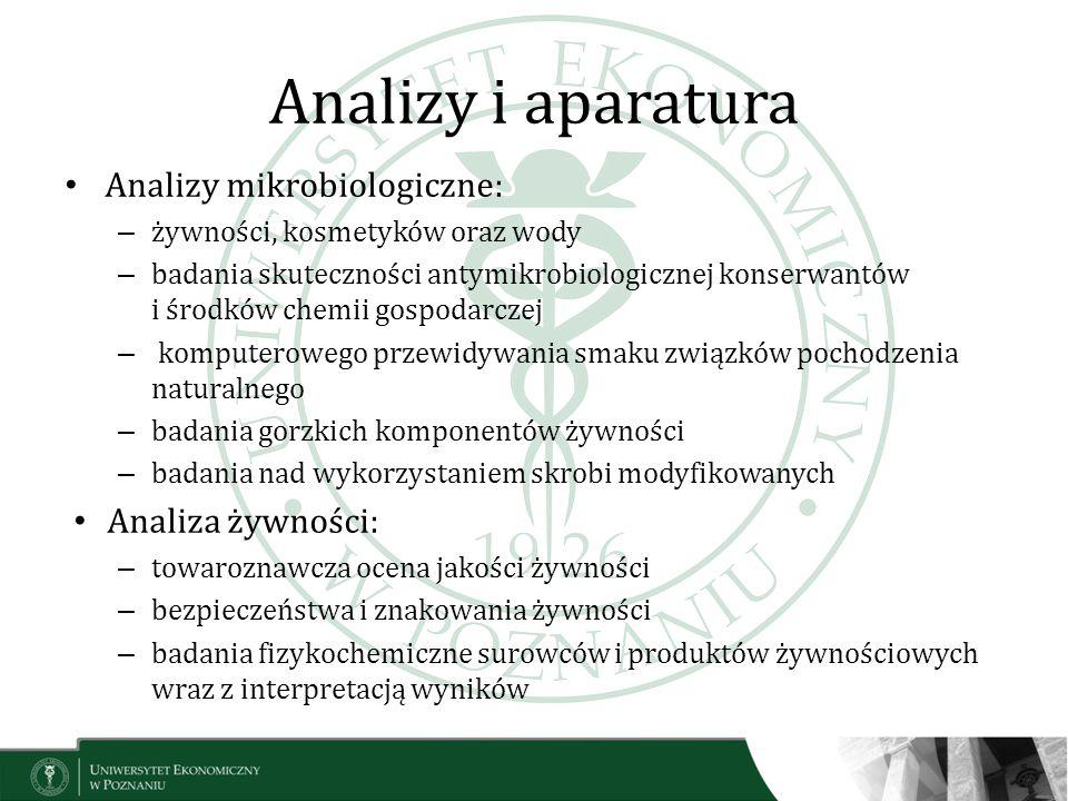 Analizy i aparatura Analizy mikrobiologiczne: Analiza żywności: