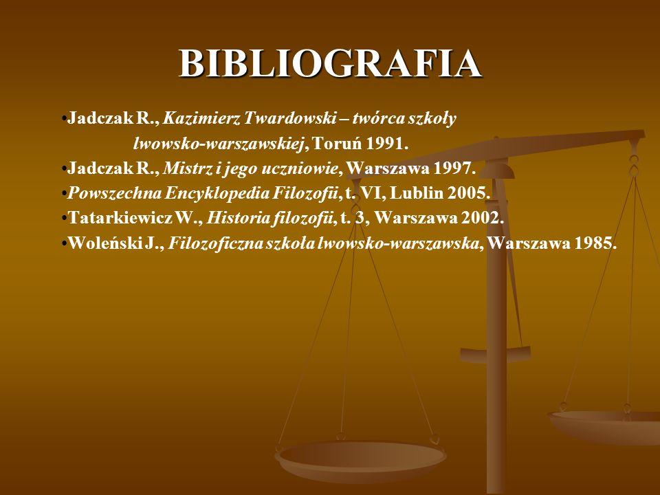 BIBLIOGRAFIA Jadczak R., Kazimierz Twardowski – twórca szkoły