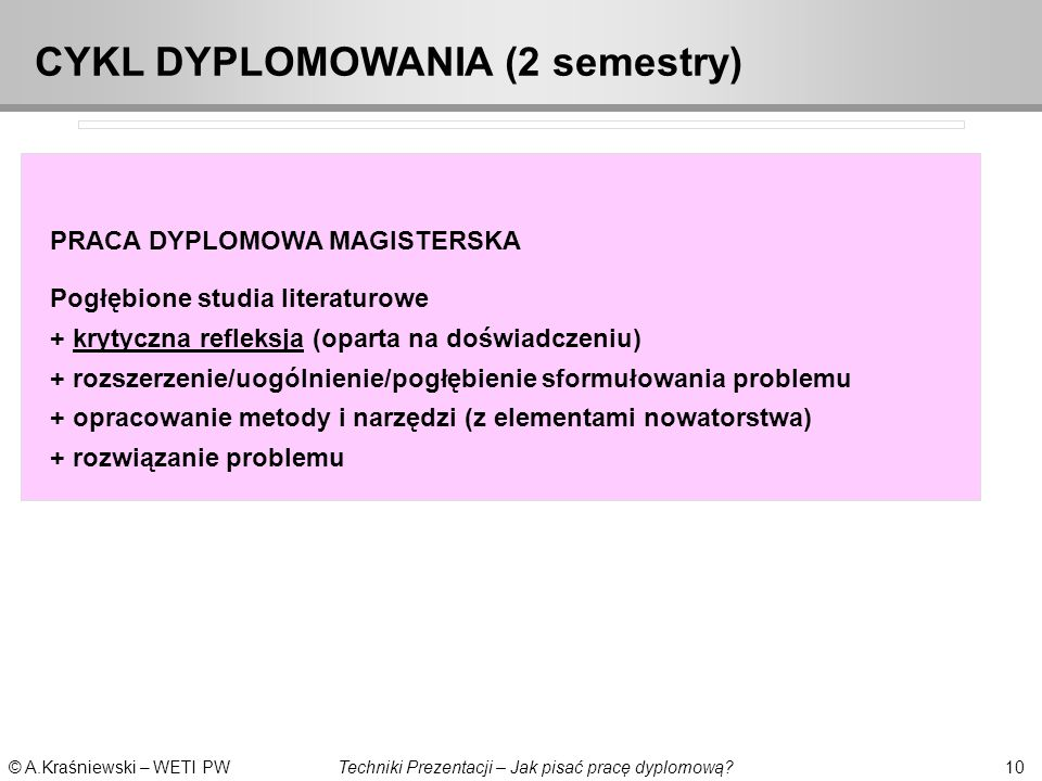 CYKL DYPLOMOWANIA (2 semestry)