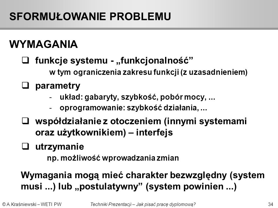 SFORMUŁOWANIE PROBLEMU