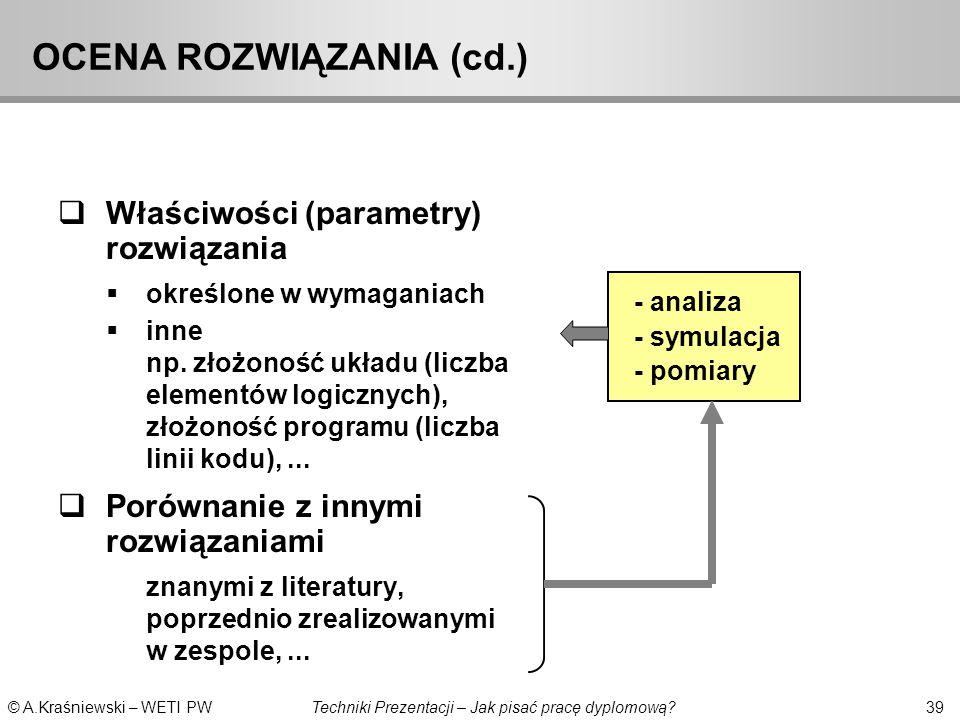 OCENA ROZWIĄZANIA (cd.)