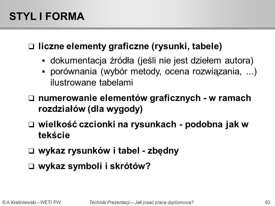 STYL I FORMA liczne elementy graficzne (rysunki, tabele)