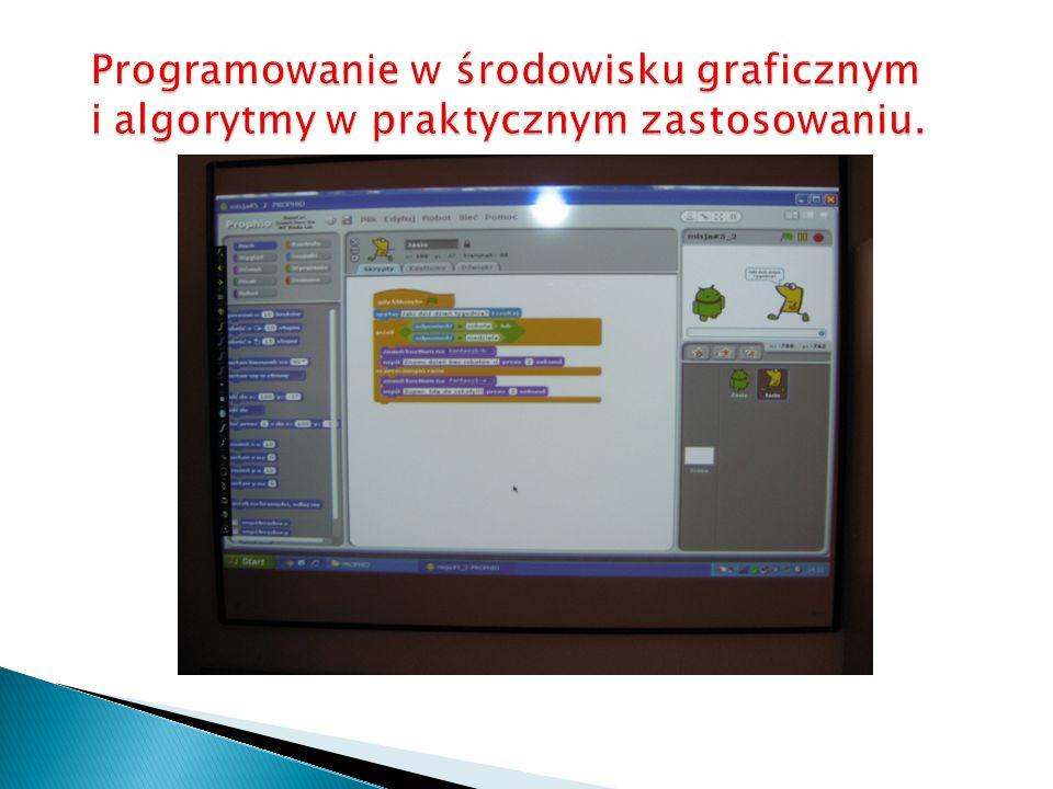 Programowanie w środowisku graficznym i algorytmy w praktycznym zastosowaniu.