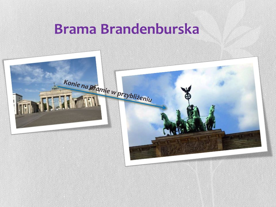 Brama Brandenburska Konie na Bramie w przybliżeniu