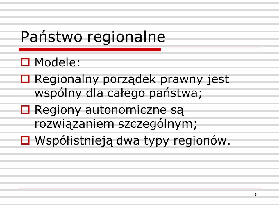 Państwo regionalne Modele: