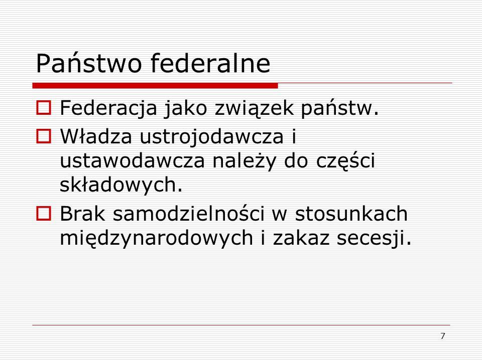 Państwo federalne Federacja jako związek państw.