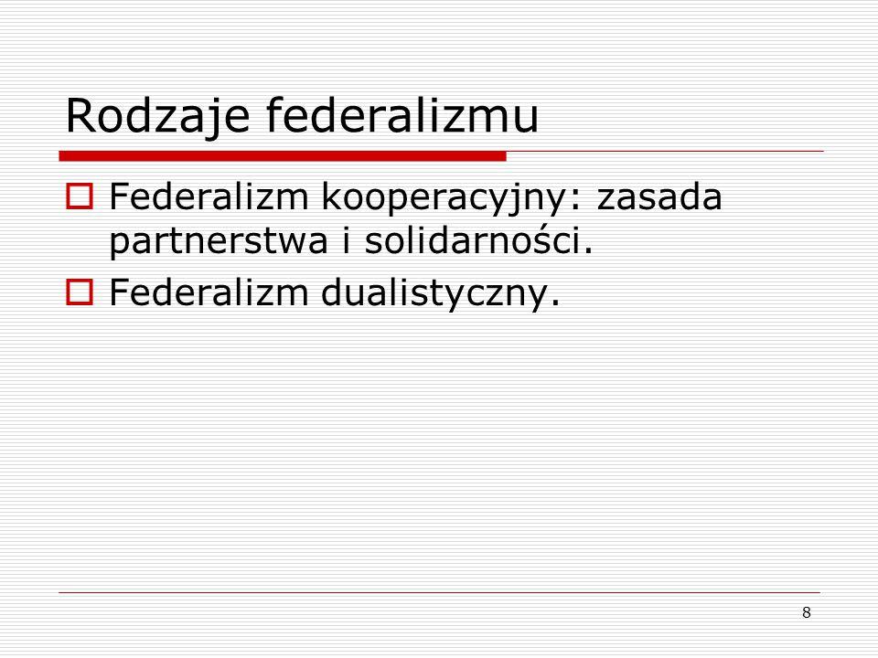 Rodzaje federalizmu Federalizm kooperacyjny: zasada partnerstwa i solidarności.