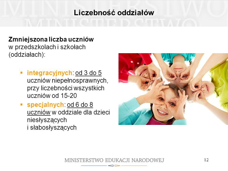 Liczebność oddziałów Zmniejszona liczba uczniów w przedszkolach i szkołach (oddziałach):