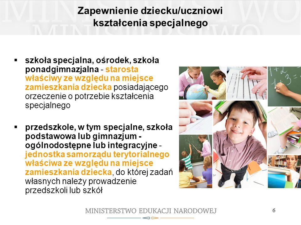 Zapewnienie dziecku/uczniowi kształcenia specjalnego