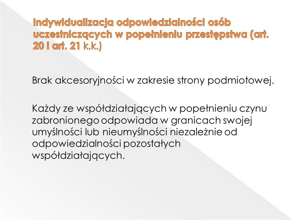 Indywidualizacja odpowiedzialności osób uczestniczących w popełnieniu przestępstwa (art. 20 i art. 21 k.k.)