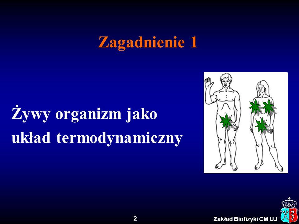 Zagadnienie 1 Żywy organizm jako układ termodynamiczny