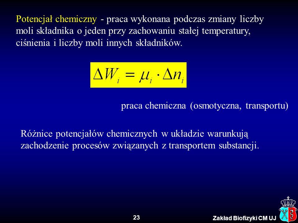 Potencjał chemiczny - praca wykonana podczas zmiany liczby moli składnika o jeden przy zachowaniu stałej temperatury, ciśnienia i liczby moli innych składników.