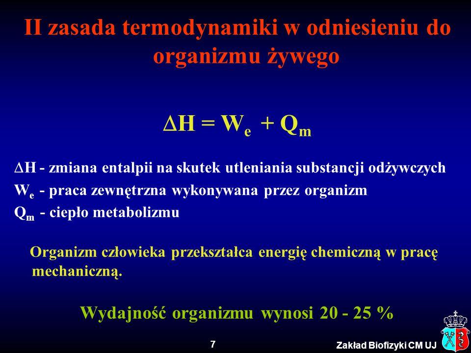 II zasada termodynamiki w odniesieniu do organizmu żywego H = We + Qm