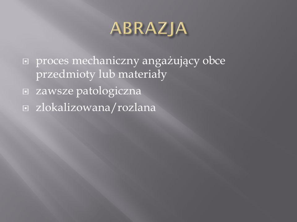 ABRAZJA proces mechaniczny angażujący obce przedmioty lub materiały