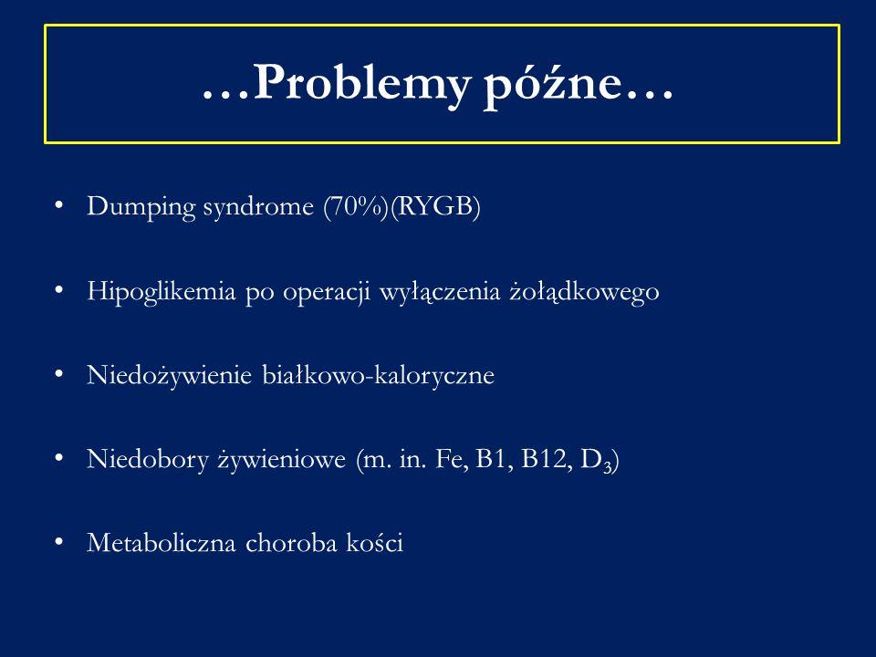 …Problemy późne… Dumping syndrome (70%)(RYGB)