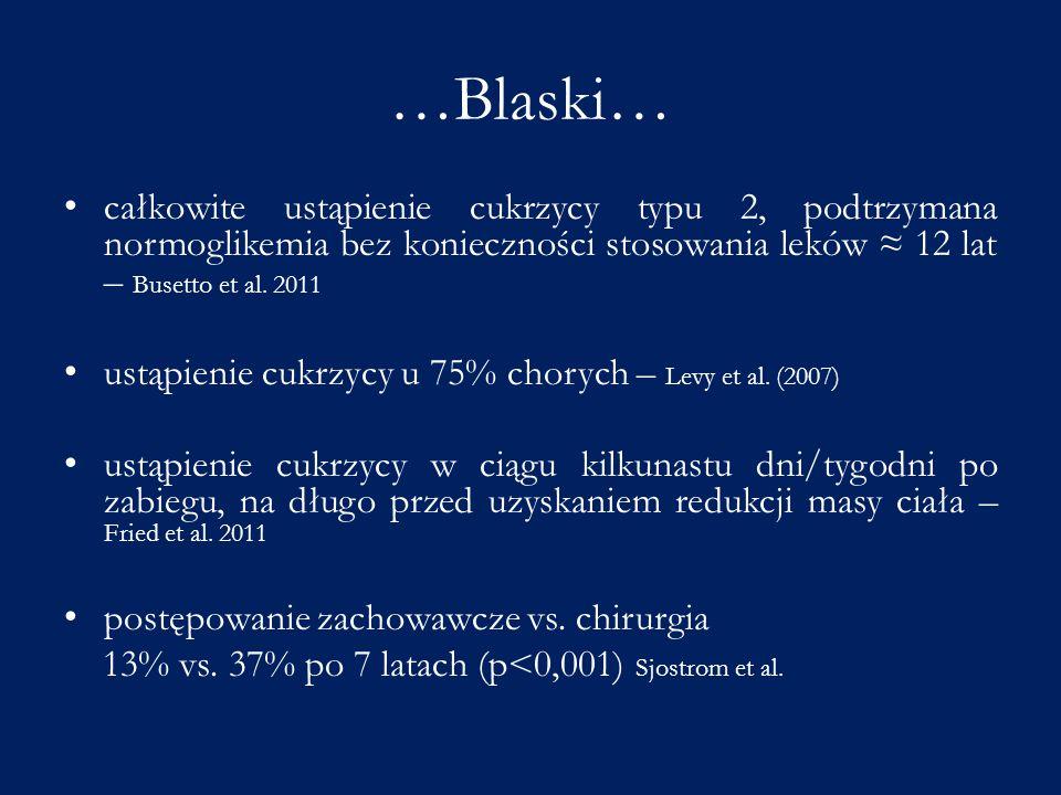 …Blaski… całkowite ustąpienie cukrzycy typu 2, podtrzymana normoglikemia bez konieczności stosowania leków ≈ 12 lat – Busetto et al. 2011.