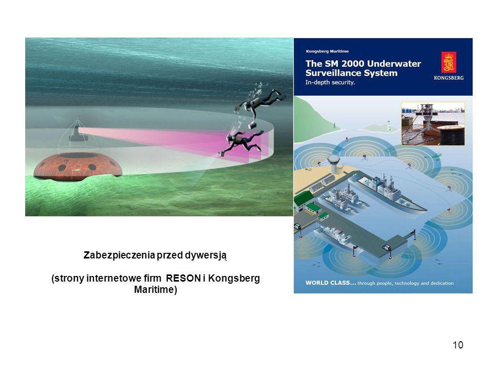 Zabezpieczenia przed dywersją (strony internetowe firm RESON i Kongsberg Maritime)