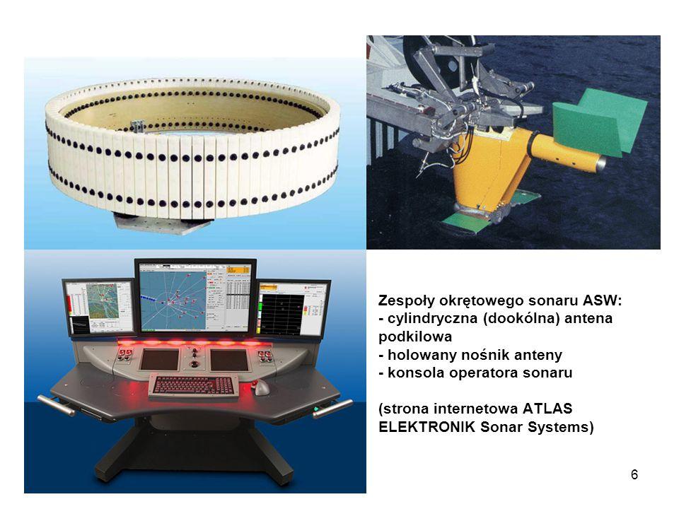 Zespoły okrętowego sonaru ASW: - cylindryczna (dookólna) antena podkilowa - holowany nośnik anteny - konsola operatora sonaru (strona internetowa ATLAS ELEKTRONIK Sonar Systems)